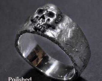 Skull Ring, Small-medium Skull Ring, Mens Women's Skull Ring, Silver Skull Ring
