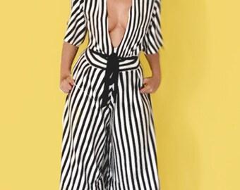 Beetlejuice Kimono - Striped Jumpsuit