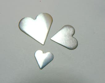 Heart Jewellery Blanks. Sterling Silver, Copper, Brass, Aluminum.