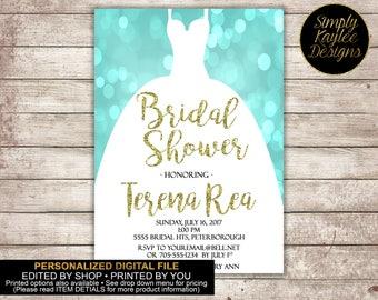 Teal and Gold Wedding Dress Bridal Shower Invitation