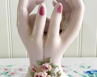 Lefton China Floral Hands Planter #892