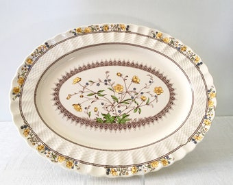 """Spode England """"Buttercup"""" 15 in. Oval Serving Platter"""