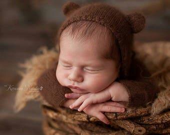 Newborn hat, newborn bear hat, newborn bear bonnet, newborn photo prop, newborn prop