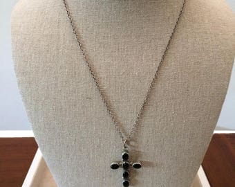 Vintage Sterling Silver Black Onyx Cross Pendant Necklace