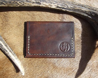Kangaroo Leather Wallet, Hand Stitched and hand Dyed Vegetable tanned leather