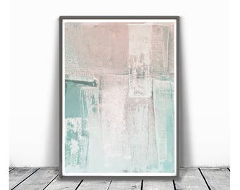 Print, contemporary art, wall art abstract, digital image, abstract ,peach  and mind ,modern abstract, scandinavian art, pink, light pink