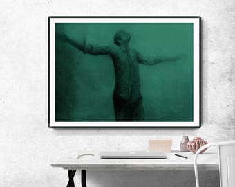 Instant download, large digital print, emerald green, man, home decor, dreamy digital image, wall art, Man in water, Minimalist Art