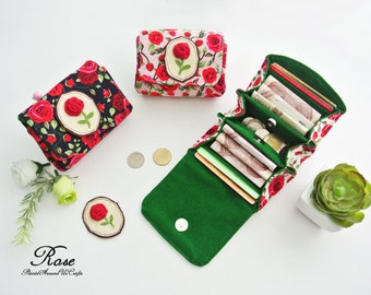 English Rose Ladies Coin Purse - Rustic Scheme, Vegan Coin Wallet, Change Purse, Small Wallet Purse, Card Pouch, Cash Wallet, Gift for Her