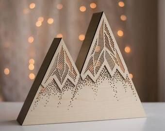 Dots & Bars - Geometric Mountain Night Light - Kid's Room and Nursery Lamp - Rustic Outdoor Woodland Theme