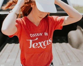 Crushing' on Texas- Texas - State Pride- Southern - Heather red tri-blend - V-NECK - UNISEX
