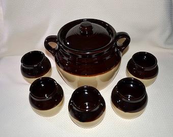 USA Bean Pot With 5 Serving Bowls, USA Crock Bean Pot and Serving Bowls, Crock Bean Pot