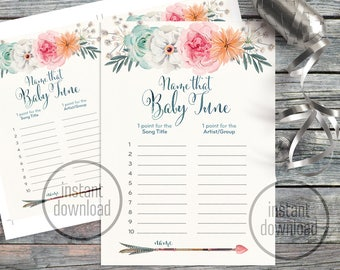 Name that baby song tune shower game card, watercolor tribal floral arrow teal pink fuchsia bohemian. Instant download! 114CMPGM 07 114CMPEX