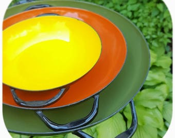 Vintage Enamel Nesting Pans, Spanish Sizzling Pans, Paella Pans, Retro Enamel dishes, Green Orange and Yellow Pans, Retro Kitchen