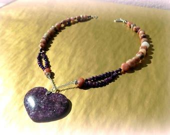 Purple and pink Lepidolite (gemstones) 925 sterling silver necklace.