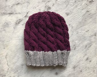 Newborn Chunky Cable Knit Winter Beanie
