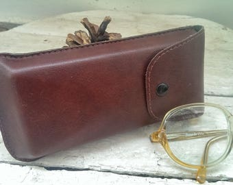 Vintage Brown Leather Glasses Case, Case for Sunglasses, Eyeglass Case, Eyeglass Holder from 1980s