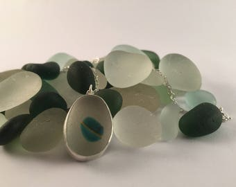 Seaham seaglass sterling silver necklace