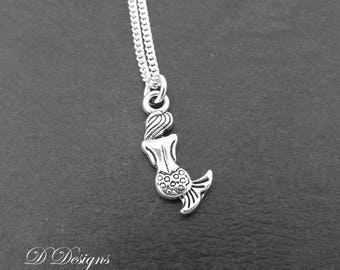 Silver Mermaid Necklace, Silver charm Necklace, Mermaid  Charm Necklace, Mermaid  Pendant, Trendy Necklace, Silver Necklace, Gifts for her