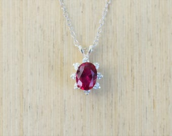 Ruby Necklace, Ruby Halo Necklace, Silver Ruby, Wedding Necklace, July Birthstone Necklace, Halo Necklace, Ruby Jewelry