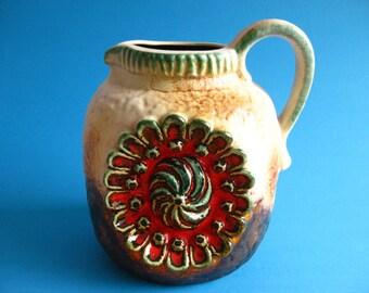 Dumler & Breiden vase Relief 53/17 retro vintage west germany pottery red brown turquoise green