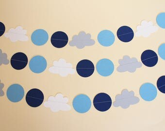 Blue, Grey & White Clouds Garland 3m or 6m