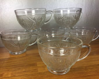 Anchor Hocking Clear Punch Bowl Cups 6pc
