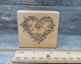 PSX, Rubber Stamp, F-057, floral, heart, vintage rubber stamp, used