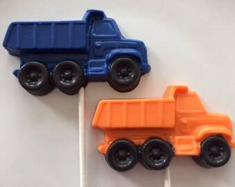 DUMP TRUCK CHOCOLATE Lollipops (12 qty)Construction Party Favor/Boys Birthday/Heavy Equipment/Truck/Dump Truck Favors/Construction Equipment