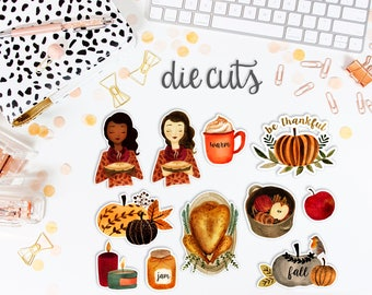 Give Thanks Die Cuts Set // Decorate your planner, TN, scrapbook, cards, etc.  // DC0860
