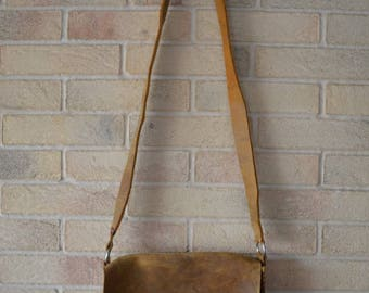 Handmade rustic leather shoulder bag with crochet