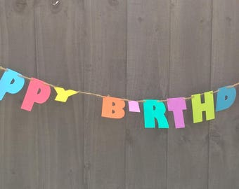 Colourful Happy Birthday Bunting by Joyce Molly Designs