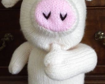 Hand knitted Arnold Pig