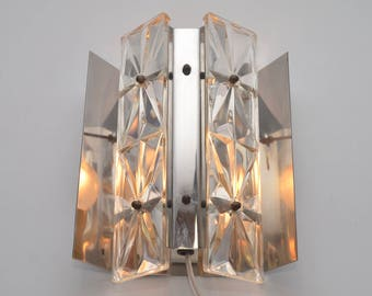 Rare crystal glass wall lamp in the style of Kinkeldy, 1960s