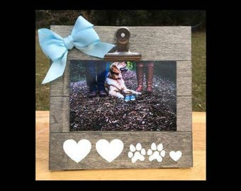 And Then there were Four - Pregnancy Announcement Frame Dog Sibling Pawprints and Hearts picture clip. We're expecting pregnant ultrasound