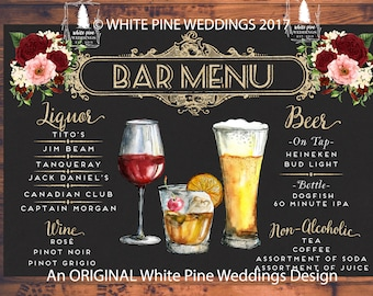 Wedding Signature Drinks, Bar Menu, Blush flowers, Burgundy floral, Ivory, White Hydrangea, Gatsby Wedding, Art Deco Wedding, Digital Print