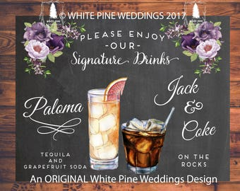 Wedding Signature Drinks, Purple Flowers, Paloma Drink, Jack and Coke,  Purple Wedding, His and Hers Drinks, DIGITAL File, We DO NOT ship