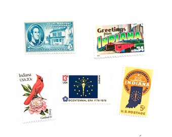 The Indiana Collection - Greetings - Flag - Sesquicentennial - Cardinal - Peony - UNused US postage stamps - invites, stamp collecting