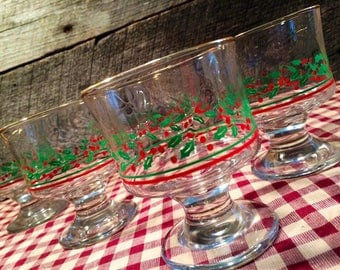 1980's Set of 4 (Four) Arby's Christmas Glasses- Holly and Berry Holiday SHERBET/DESSERT Glasses by Libbey with Gold Rims, compotes