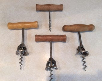 Set of 4 Vintage Wooden Handle Corkscrews Italy