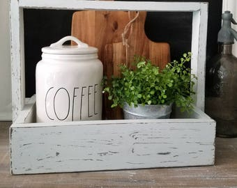 Rustic Wood Tote. Decorative tray. Wooden caddy. Farmhouse tray.