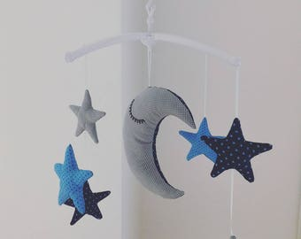 "Musical mobile Royal Blue and gray ""the Moon watches over the stars"""