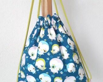 Sac à dos pour enfants bleu, rose et vert anis Oiseaux