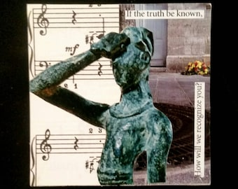 If the truth be known,  original collage magnet, upcycled fridge magnet, green, neutral, found poem, fine art magnet by IntentionalThought