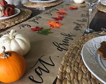 Calligraphy Thanksgiving Table Runner | Hand Lettered | Kraft Paper Table  Runner