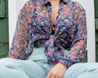 90s Guess floral chiffon button down blouse size S M L