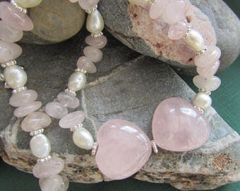 Romantic Rose Quartz and cultured pearls