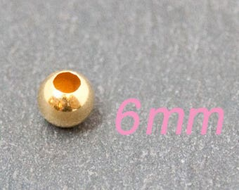 1x bead ball 925 Sterling 6mm gold pl. #4273