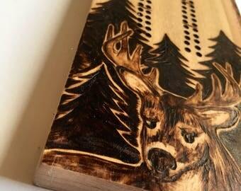 Buck Cribbage Board | handmade, woodburned, custom, deer, card game