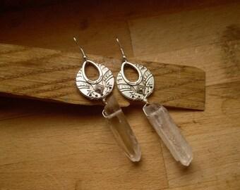 * Neikraph * ethnic earrings made of quartz.