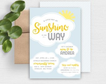Sunshine Baby Shower Invite | You are my Sunshine Baby Shower Invitation | Clouds | Neutral | Printable Invite | Printable Baby Shower